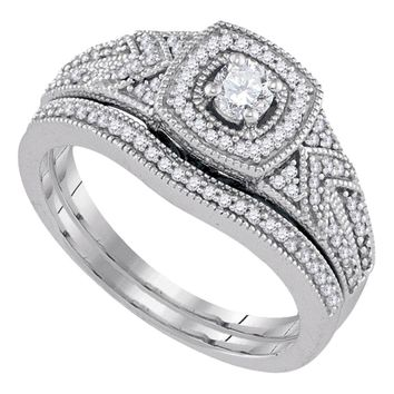 10k White Gold Womens Round Diamond Filigree Bridal Wedding Engagement Ring Band Set 3/8 Cttw