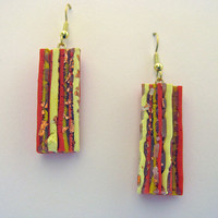 Torn Stripe 3D Art Earrings in Red, Yellow, Orange and Gold Leaf Strata Polymer Clay