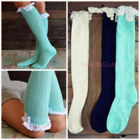 Oakdale Cable Knit Lace Trim Bootsocks