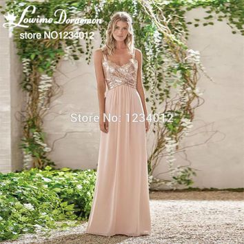 Rose Gold Sequins Bridesmaid Dresses 2017 New Robe de marigee Sleeveless Long Chiffon Backless Formal Party Dress For Weddings