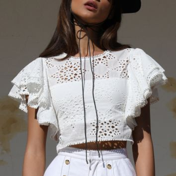 Fashion white women's spring and summer lace short-sleeved openwork embroidery shirt