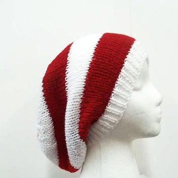 Slouchy hat, beanie, slouch hat, mens womens hat,knitted oversized hat,red white