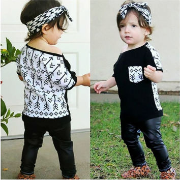 Toddler Kids Baby Girls Clothes Set Outfit Clothes T-shirt Tops Long Pants Trousers Cotton 2PCS Set