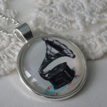 1- Phonograph Print Necklace Vintage Record Player Printed Floral Necklace Hand Made Round Music Lover Silver Phonograph Circle Pendant