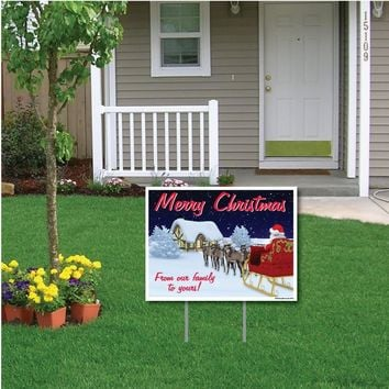 "Merry Christmas From our Family to Yours Lawn Display - 18""x24"" Sign"