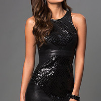 Short Sleeveless Sequin Holiday Party Dress with Open Back