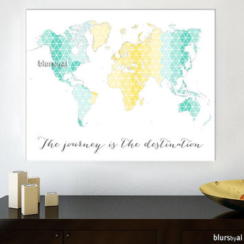 "30x24"" Printable world map, pastel geometric wall art. ""the journey is the destination"", pastel yellow & mint travel wall art - map023 B"