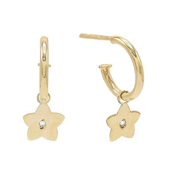Flower Dangle Hoop Earring 14K