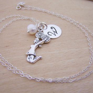 Cheerleader Charm Swarovski Birthstone Initial Personalized Sterling Silver Necklace / Gift for Her