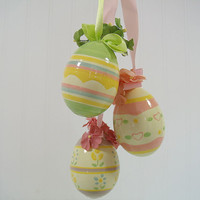 Vintage Pastel Colored Easter Eggs Trio - Collection of 3 Hand Painted Decorator Hanging Eggs with Matching Ribbon - Spring Garden Decor Set