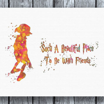 Dobby Harry Potter Quote Watercolor Art Print Instant Download