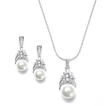 Pearl and CZ Baguettes Necklace Set 261S