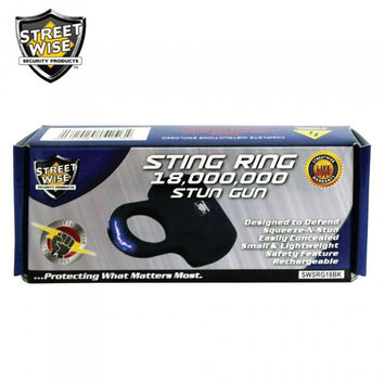 Streetwise Sting Ring 18,000,000 Stun Gun Black