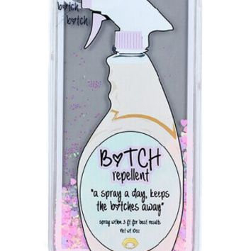 GLITTER HEART GO AWAY BITCH REPELLENT SPRAY LIQUID QUICKSAND CASE FOR IPHONE