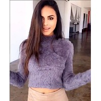 Pullover Sweater Winter Long Sleeve Crop Top Women's Fashion Bottoming Shirt