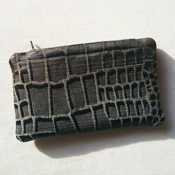 Little wallet crocodile skin design, closed with a zip, matching with same design bags, shinny black, grey, gold brown glints, casual chic