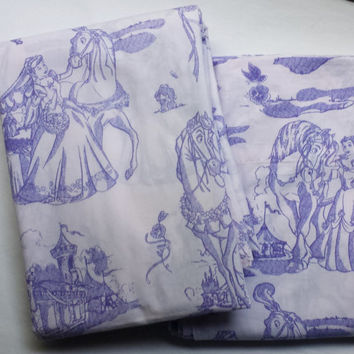 Disney Princess Horses Flat Sheets Purple Toile Belle Snow White Sleeping Beauty Cinderella Purple TWIN Cotton Kids Bedding Craft Clean Used