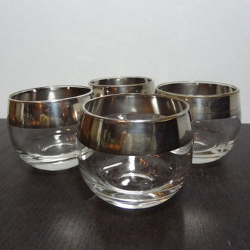 Vintage Silver Rimmed Roly Poly Cocktail Bar Glasses 4oz. - Set of 4 - Mid Century Modern - Mad Men/Dorothy Thorpe Style