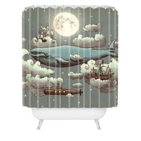 Terry Fan Ocean Meets Sky Shower Curtain