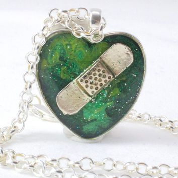 Green Organ Donation Bandaid Necklace