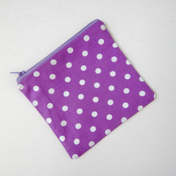 Makeup Bag Pouch in Purple Polka Dot - Cosmetics Purse - Travel Bag - Bag Organiser - Purse - Square Pochette - Beauty Essentials Carry On