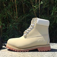 Timberland Rhubarb boots for men and women shoes waterproof Martin boots lovers Beige