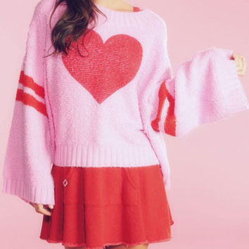 Pink Bell Sleeve Heart Print Sweater