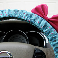 The Original Antique Keys Teal Steering Wheel Cover with Matching Bright Brink Pink Bow