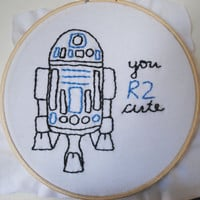 Star Wars R2D2 hand embroidered patch you R2 cute by LunaMothShop