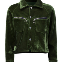 Dark Green Letter Embroidered Velvet Jacket