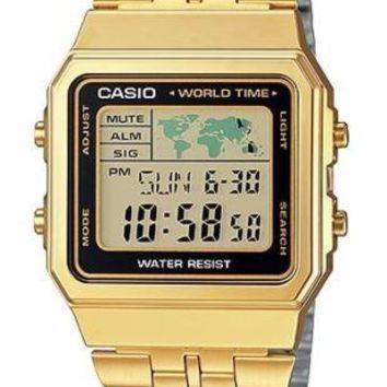 Casio Gold- Tone Digital Retro Alarm Chronograph Watch A500WGA-1D