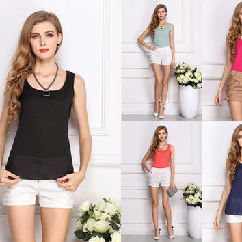 Fashion New Summer Women Clothing Chiffon Sleeveless Solid Neon Candy Color Causal Chiffon Blouse Shirt Women Top = 1958778564
