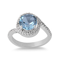925 Sterling Silver CZ Round Center Simulated Aquamarine Ring 11MM