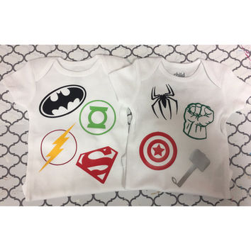 DC Comics or Marvel superhero themed shirts