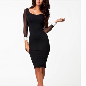 Bandage Dress Patchwork Long Sleeve Black Dresses