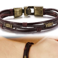 Mens Leather Wrap Wrist Band Bracelet Brown Rope