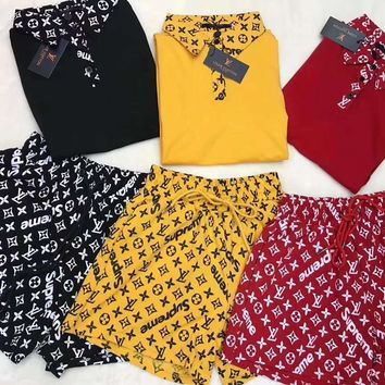 """""""LOUIS VUITTON""""Woman's Leisure  Fashion Letter Printing Loose Short  Sleeve POLO Shirt Shorts Two-Piece Set Casual Wear"""