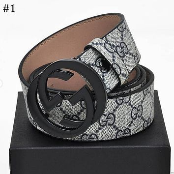 GUCCI Tide brand men and women classic double G buckle canvas belt #1