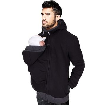 Dad winter carry baby carrier jackets with zipper