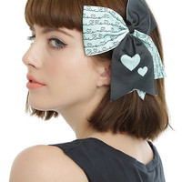 Blackheart Mint & Forest Green Hearts Cheer Bow