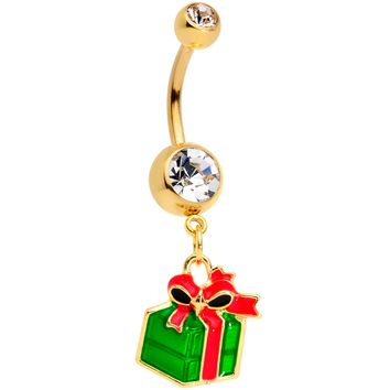 Clear Gem Gold Tone Green Red Happy Holiday Gift Dangle Belly Ring