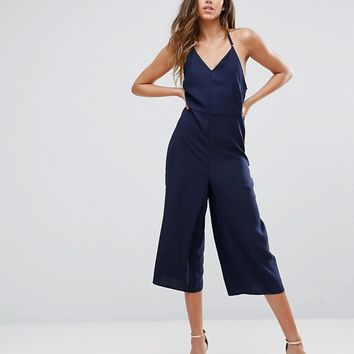 New Look Satin Strappy Culotte Jumpsuit at asos.com