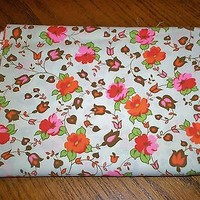 39 Wide x 3+ Yards Vintage Floral Print Fabric Make Dresses Aprons Doll Clothes