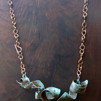 Verdigris Copper Wave Pendant on Handmade Copper Chain Fold Formed Copper Metalwork w Patina Ocean Beach Jewelry