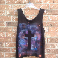 Galaxy nebula cross cut off grunge t shirt/ tank top