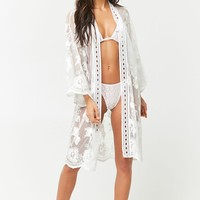 Sheer Mesh Embroidered Swim Cover Up Kimono