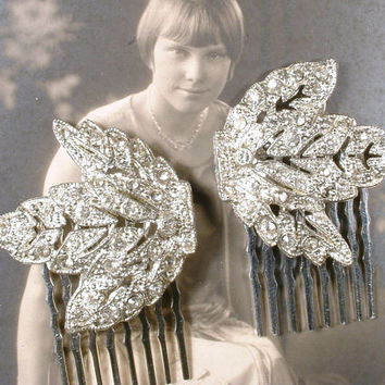 Original 1920s PAIR OoAK Flapper Rhinestone Leaf Bridal Hair Combs, Vintage Art Deco Silver Pave Dress Clips to Wedding HairPiece Accessory