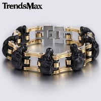 18mm/22mm Boys Mens Chain Skulls Link Biker Motorcycle Link 316L Stainless Steel Bracelet HBM66