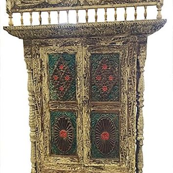 Mogul Indian Jharokha Carved Peacock Rustic Architectural Window Door Wall Sculpture 18c