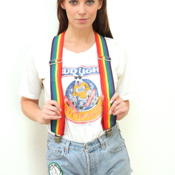 Vintage 70s SUSPENDERS Rainbow Multi Adjustable Strap // Hipster Grunge Hippie Boho Gypsy // OS / XS / Small / Medium / Large